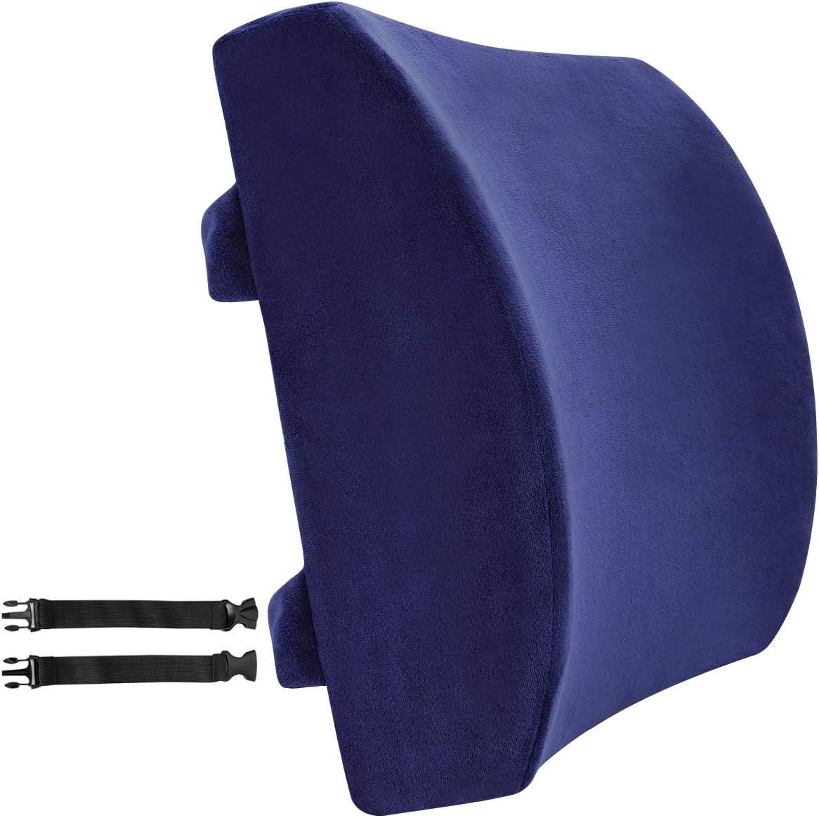 Love Home Cojin Lumbar Respaldo Lumbar Para Silla Oficina Coche Almohada Ergonomico Apoyo Cojín - Azul Marino
