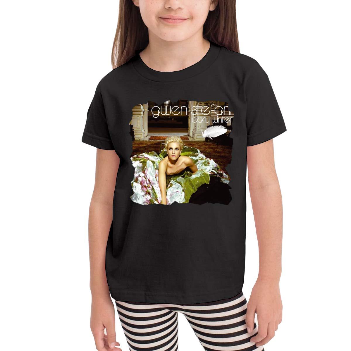 WYeter Gwen Stefani Early Winter Boys Girls Kids Funny Short Sleeve Tee Black