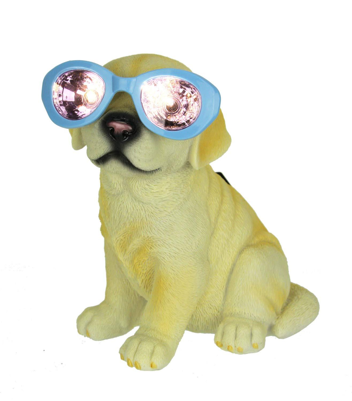 Dog in Glasses LED Solar Light Garden Statue