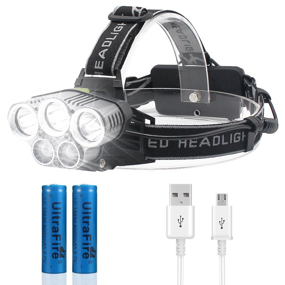 Lampade da Testa LED, Jirvyuk Lampada Frontale USB Ricaricabile 8000 Lumen, Luce Frontale Impermeabile 6 Modalità per Campeggio/ Corsa/ Pesca/ Caccia/ Ciclismo/ Arrampicata