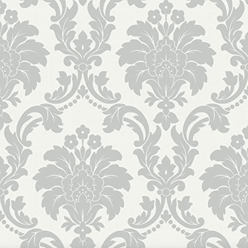 Arthouse Romeo Damask Pattern Wallpaper Modern Metallic Floral Motif Grey 693503