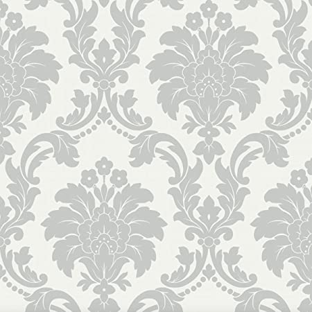 Arthouse Romeo Damask Pattern Wallpaper Modern Metallic Floral Motif Unique Grey Pattern Wallpaper