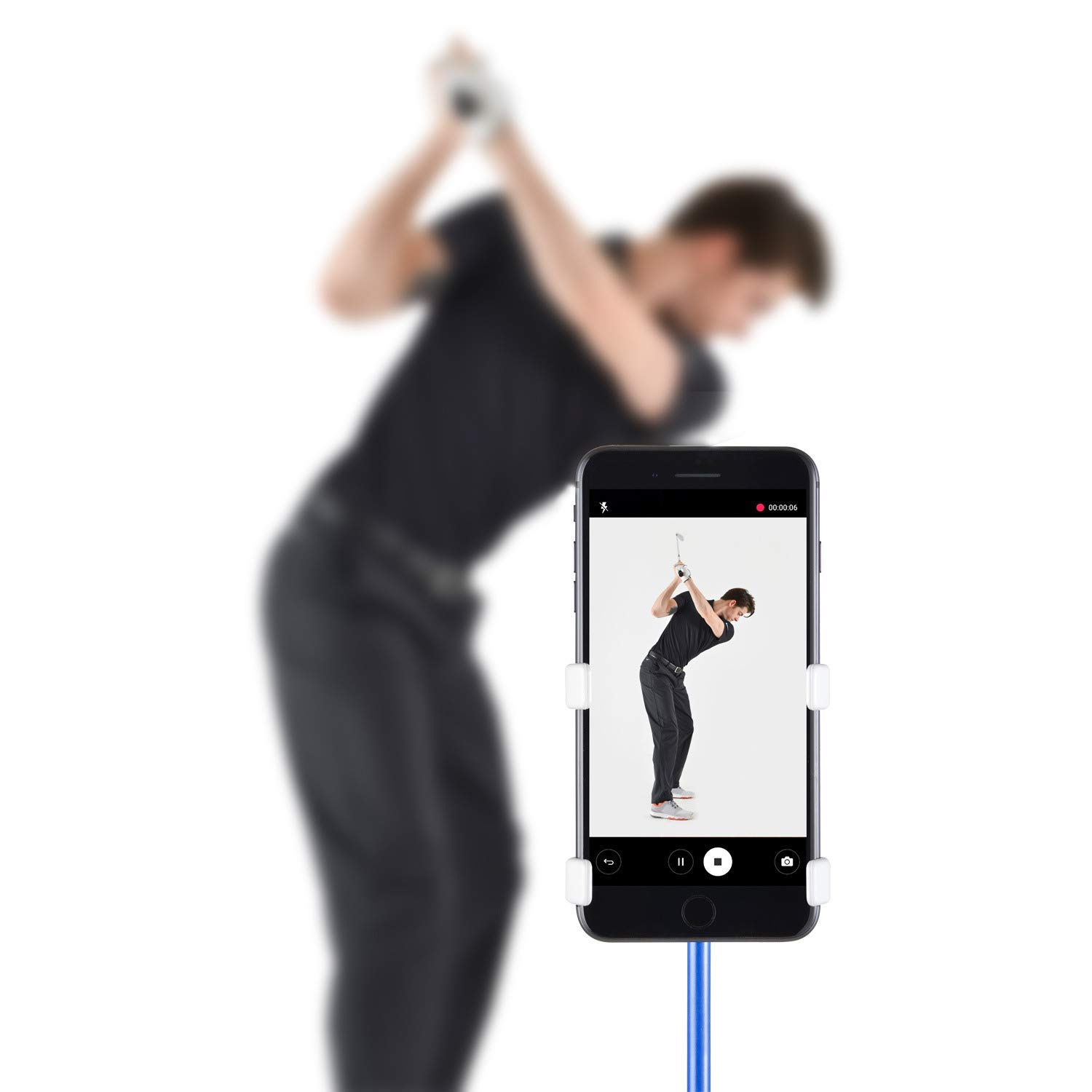 SelfieGolf Record Golf Swing - Cell Phone Clip Holder and Training Aid - Golf Accessories | Winner of The PGA Best Product | Works with Any Smart Phone, Quick Set Up (Snow White) by Selfie Golf