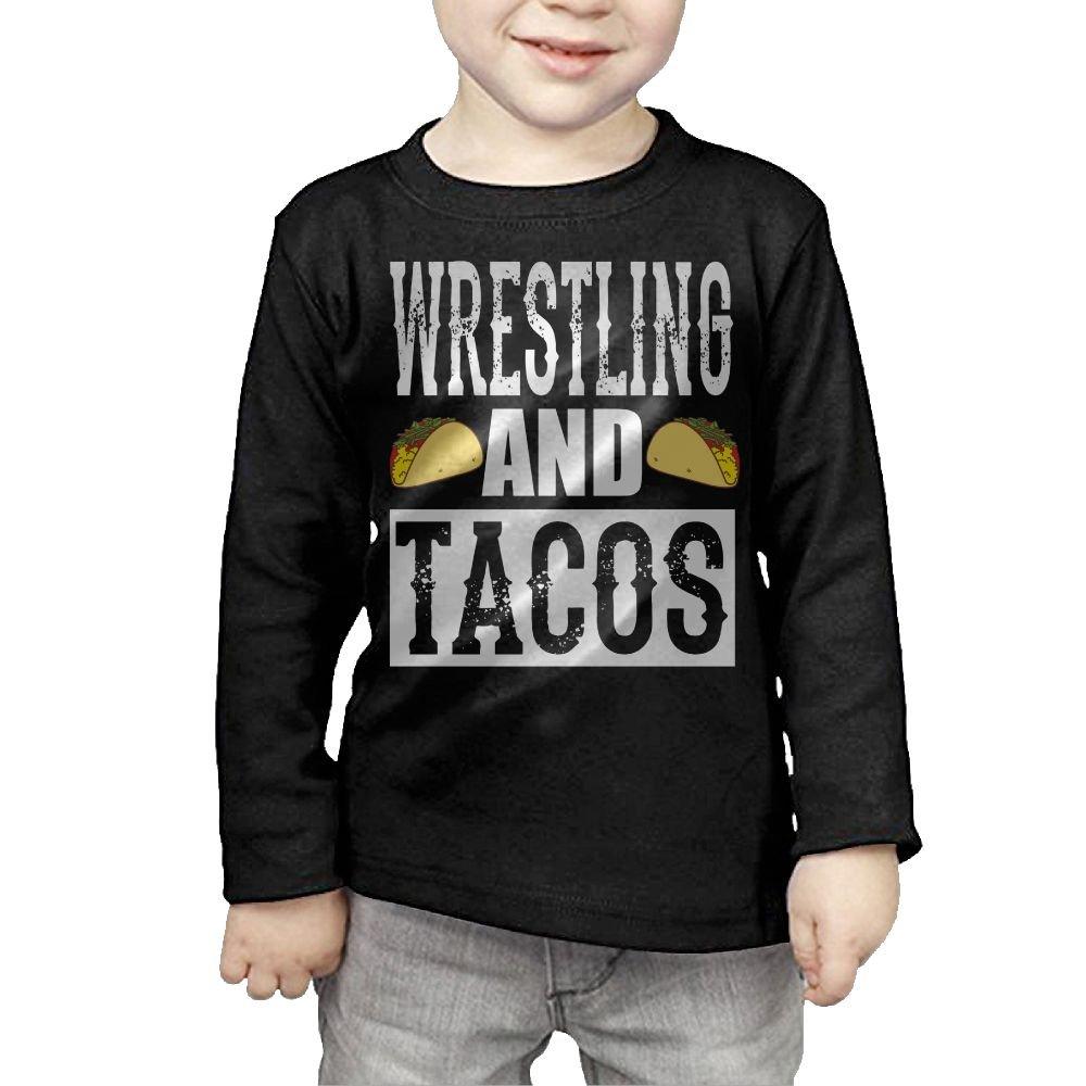 Arromper Wrestling and Tacos Girls&Boys Long Sleeve T-Shirts 5-6 Toddler Black