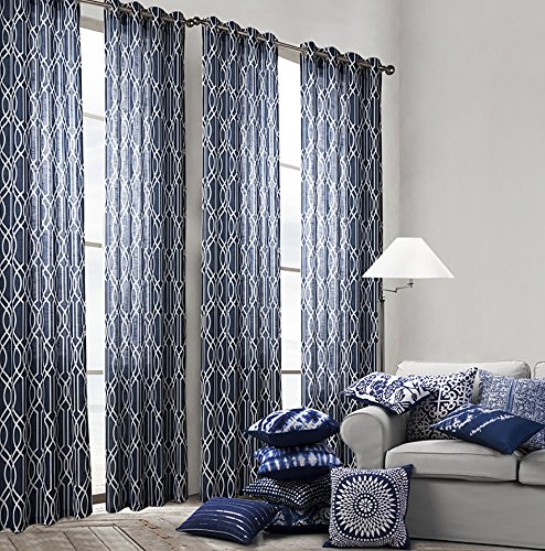 ChezMax Grommet Print Pattern Window Treatment Drape Panel Fabric Sheer Curtain Panel 52″ W x 95″ L Blue