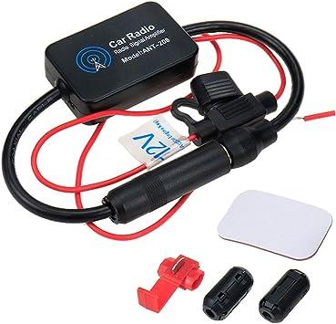 AUTUT Amplificador de señal Amplificador de señal Amplificador de Radio FM Universal para Auto, 25 db, 12 V, con Papel Adhesivo y Empalme rápido de ...