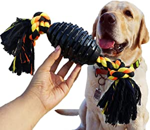 BLUEISLAND Durable Dog Chew Toys for Aggressive Chewer, Combine Ball Rope Dog Toy 13.5 Inch Nearly Indestructible Dog Toy with Convex Design for Puppy Small Medium and Large Dogs