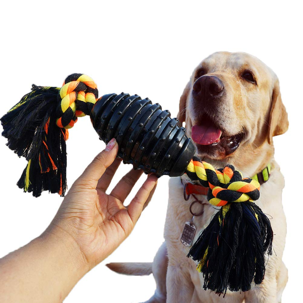 Black blueEISLAND Durable Dog Chew Toys for Aggressive Chewer, Combine Ball Rope Dog Toy 13.5 Inch Nearly Indestructible Dog Toy with Convex Design for Puppy Small Medium and Large Dogs