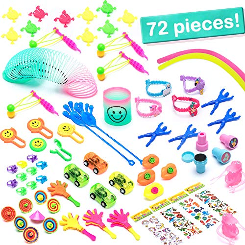72 Pcs. Party Favors for Kids, Best Supplies as Toy Prizes and Gifts for Birthday, Classroom and School Rewards, Piñata Fillers, Complete w/Unicorn Stickers, Emoji Rings, Finger Dinosaurs & -