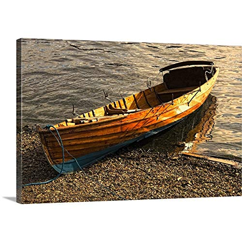 GREATBIGCANVAS Gallery-Wrapped Canvas Entitled Boat On Shore, Keswick, Cumbria, England by John Short 18