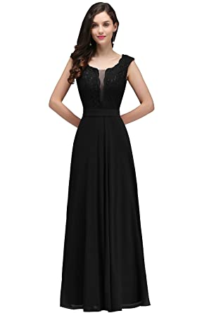 MisShow Womens Long Maxi Evening Prom Party Dress Bridesmaid Ball Gown Black US2