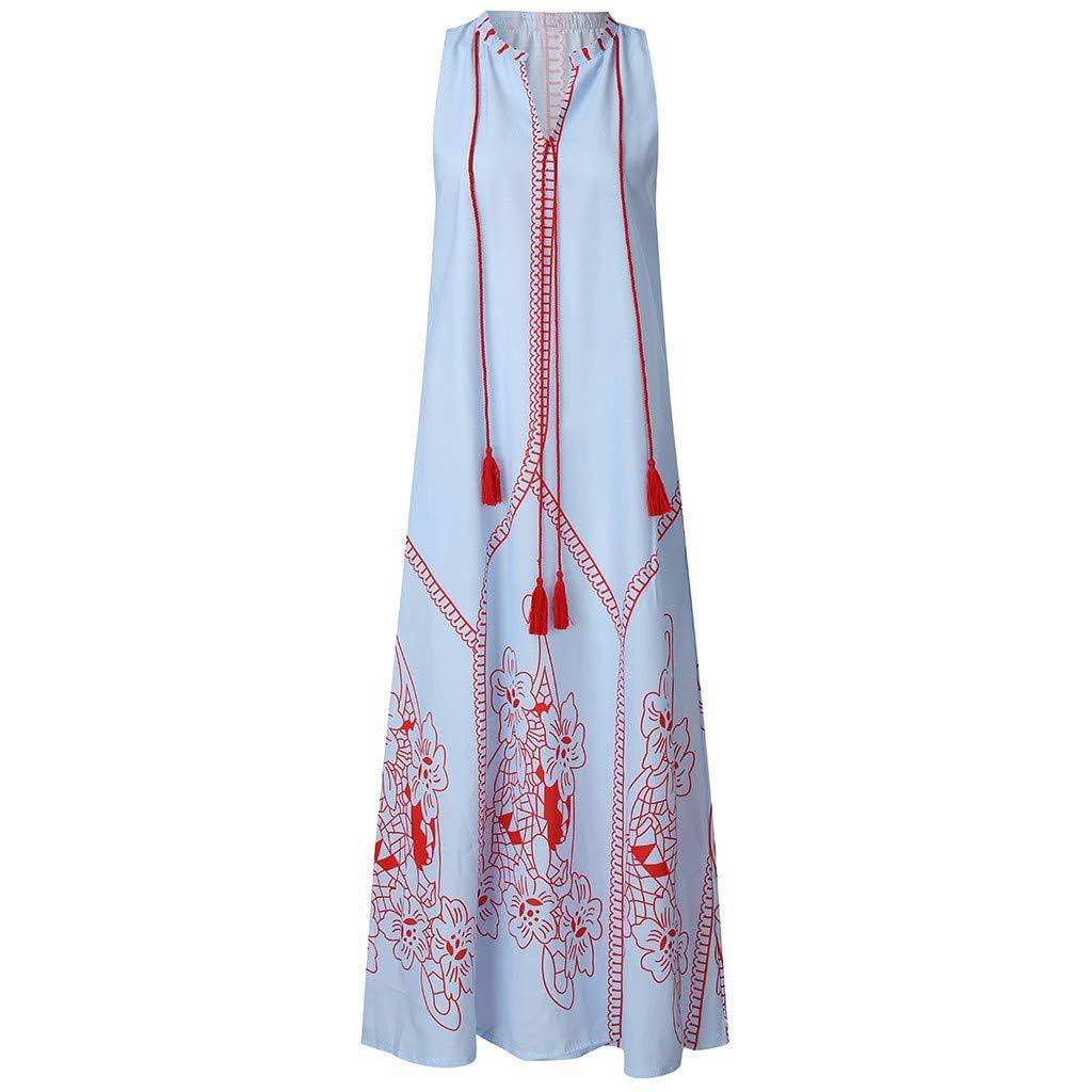 Pandaie Women Summer Dress Sleeveless Vintage Tassel Elegant Beautiful V Neck Beach Boho Maxi Dress