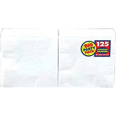"Amscan Frosty White Big Party Pack Luncheon Napkins, 6.5"" x 6.5"", 125 Ct.: Home & Kitchen"