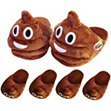 WTOR 2PACK Emoji Slippers Cute & Funny House Indoor Warm Soft Comfortable Cotton Slippers for Men