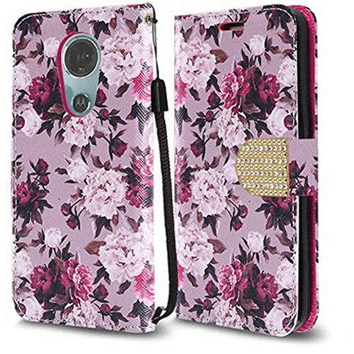 Luckiefind Compatible Motorola Moto E5 Plus / E5 Supra, Premium PU Leather Flip Wallet Credit Card Cover Case (Wallet White - Faceplates Motorola Pink Phone