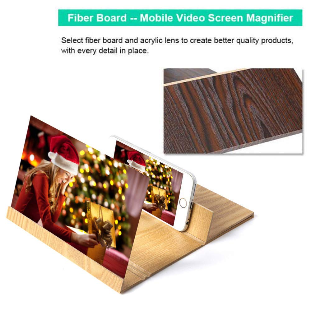 Coohole 3D Mobile Phone Screen Magnifying Glass Stereo Enlargement 12 Inch Smart Phone Desktop Wood Bracket
