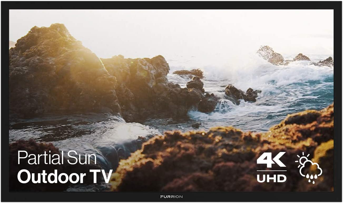 Furrion Aurora - Partial Sun Series 43-Inch Weatherproof 4K Ultra-High Definition LED Outdoor Television with Auto-Brightness Control for Outdoor Entertainment - FDUP43CBR