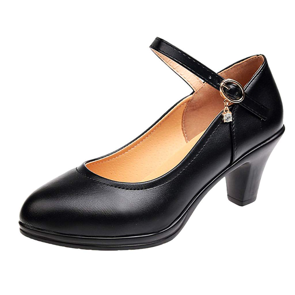 Women Middle Heeled Shoes Ladies Casual Breathable Buckle Strap Rhinestone Profession Single Shoes