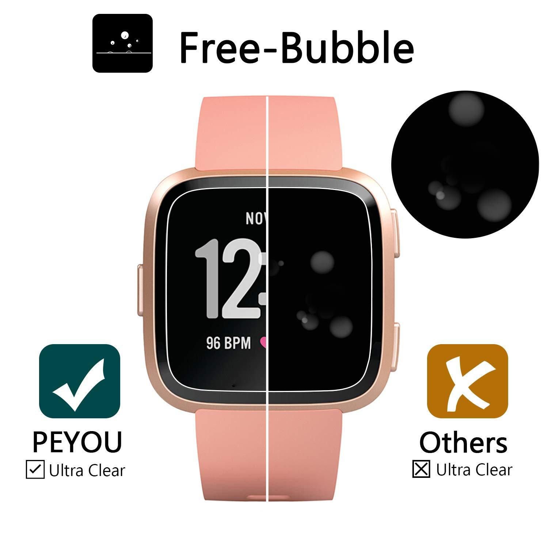 Peyou Protector de Pantalla para Fitbit Versa [6 Paquetes], Película de hidrogel con [Aplicación húmeda], [Anti-rasguño] y [sin Burbujas] para Fitbit Versa: ...