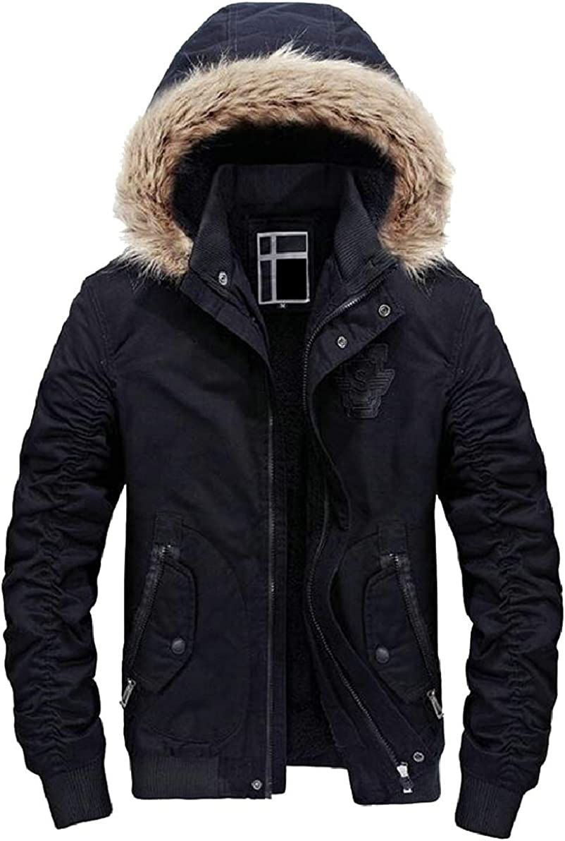 ONTBYB Mens Casual Hooded Faux Fur Lined Quilted Winter Jacket