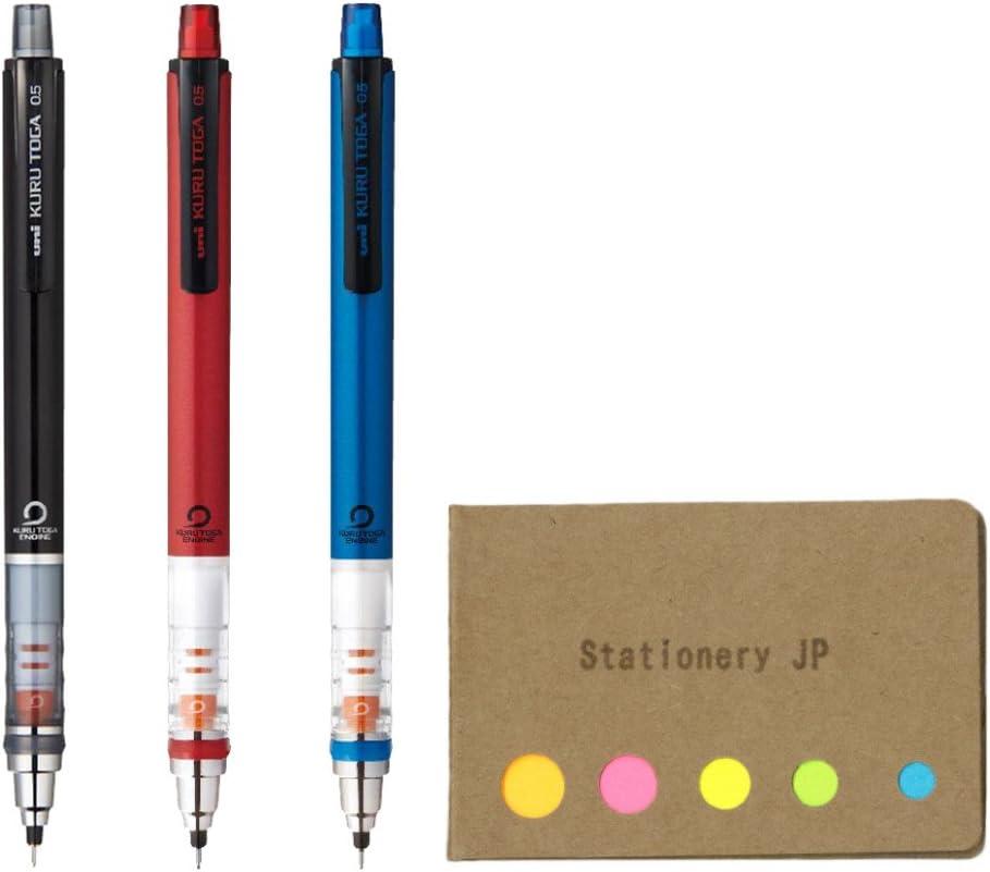 Black//Red//Navy Body Color 3-pack Uni Kuru Toga Auto Lead Rotation Mechanical Pencil Standard Model 0.5 mm Sticky Notes Value Set