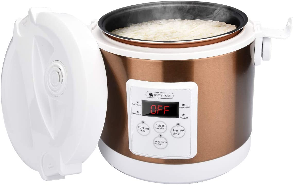 2L Electric Rice Cooker, WHITE TIGER Portable Mini Rice Cooker with Digtal Display, Intelligent timing, 15 Minutes Fast Cooking, Re-heating, Keep Warm, For 2-4 People