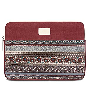 Feisman 13 13.3 Inch Laptop Sleeve Bohemian Canvas Waterproof Notebook Bag, MacBook Air Pro 13 Case / Microsoft New Surface Pro 2017/ Surface Pro 4/ 3 Computer Sleeve Case Bag with Zipper Pocket -Wine