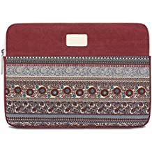 11.6 Inch Laptop Sleeve, Feisman Bohemian Sleeve for Apple MacBook Air 11.6Inch / New Macbook 12 inch Microsoft Surface Pro Acer Asus Dell Chromebook, Notebook Carrying bag -Wine Red
