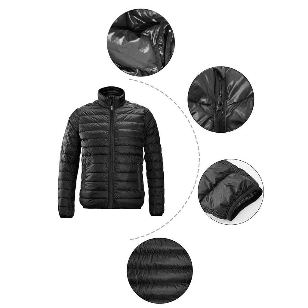 Redder Men Heated Jacket Lightweight Cotton Down Jacket Outwear with New Heating System 2017 Warm-keeping Auto-heated Winter Coat with USB Charged by Power Bank-Battery not Included by redder (Image #3)
