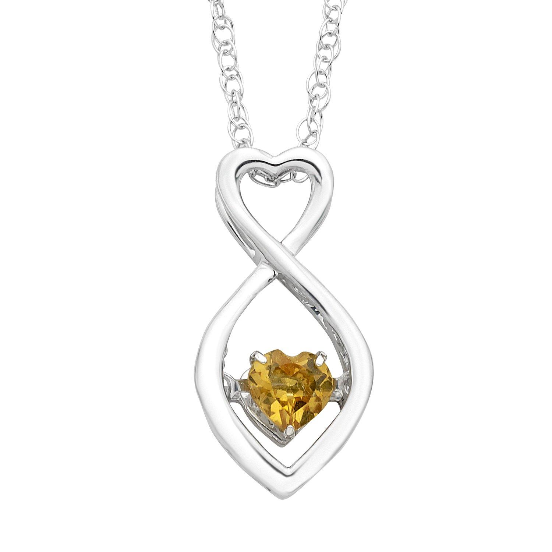 925 Sterling Silver Citrine Birthstone Pendant Necklace, 18''