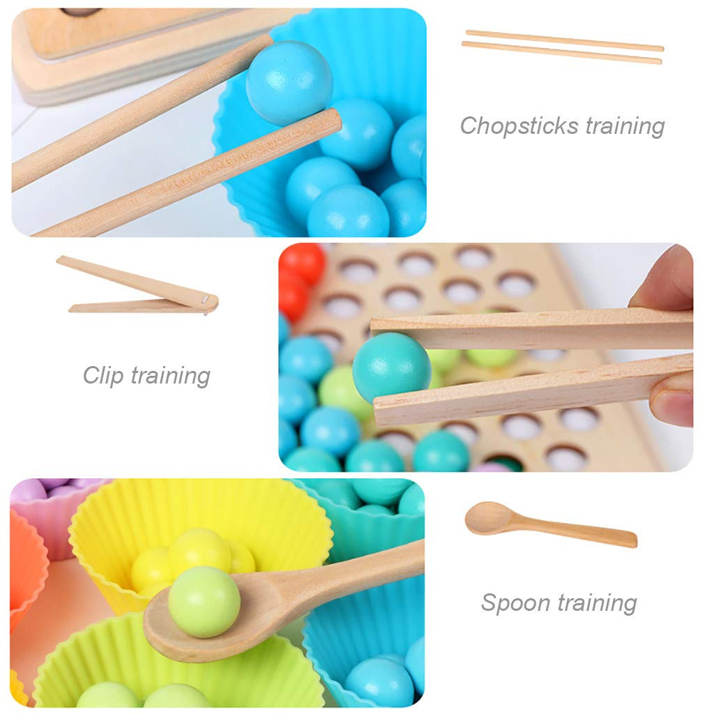 ℊeneral Toddler Game Color Classification Toy 77 Color Beads 5 Map Shape - Use Chopsticks / Spoon / Clip to Play Color Shape Matching Game by ℊeneral (Image #3)