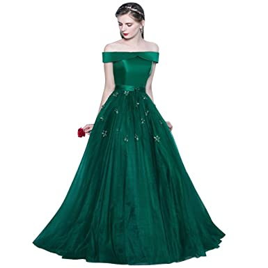 Harsuccting Shoulder Lace Up Satin Tulle Long Party Prom Dress Green 2