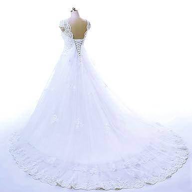 Mariée Vêtements Longue V Dentelle Col Élégant Robes De Line Vantexi Robe A jLR354Aq