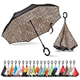 what are good color combinations Sharpty Inverted Umbrella, Umbrella Windproof, Reverse Umbrella, Umbrellas for Women with UV Protection, Upside Down Umbrella with C-Shaped Handle (Leopard)