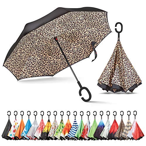 (Sharpty Inverted Umbrella, Umbrella Windproof, Reverse Umbrella, Umbrellas for Women with UV Protection, Upside Down Umbrella with C-Shaped Handle (Leopard))