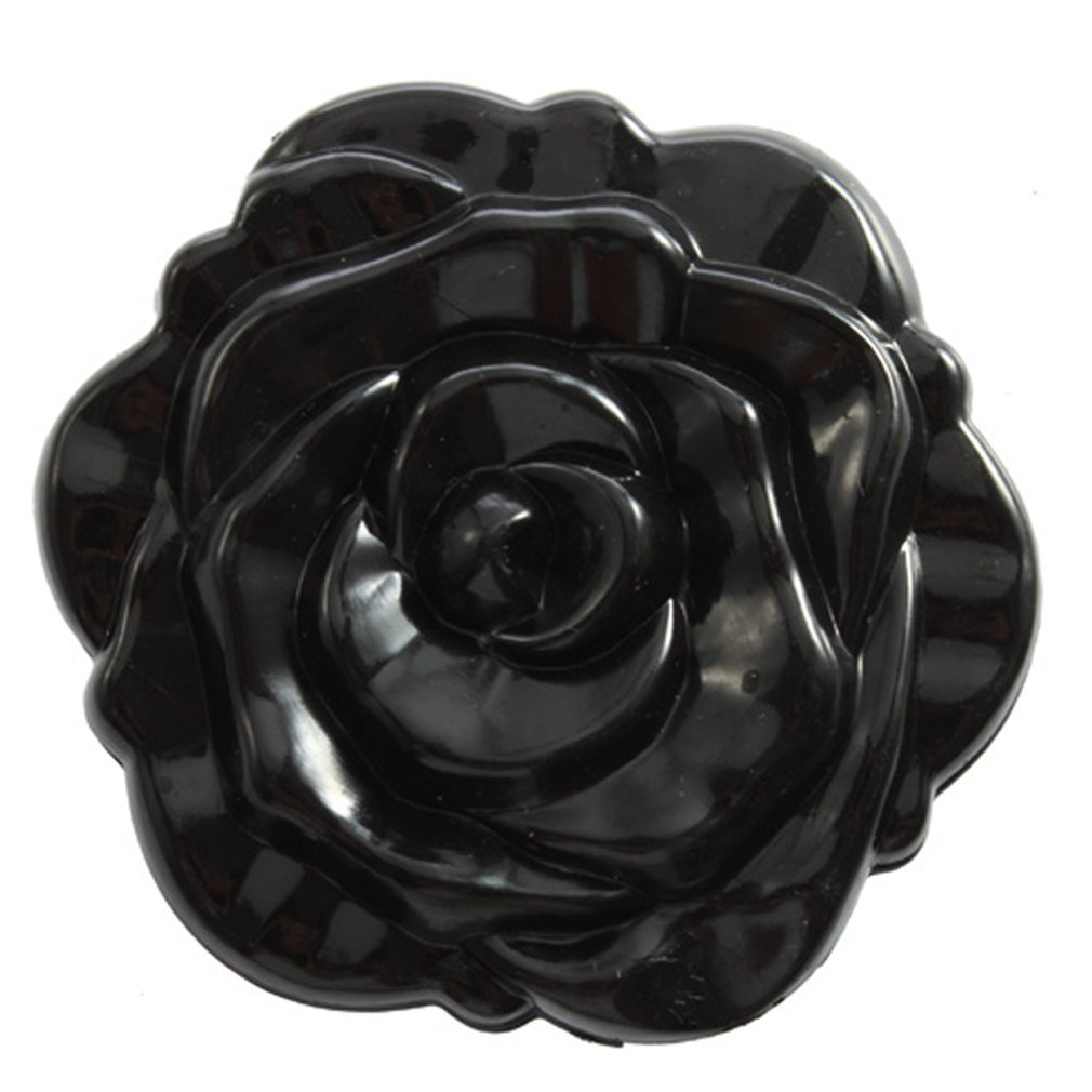 SODIAL(R) 1 pcs Beautiful 3D Stereo Double Sided Cute Retro Rose Shape Makeup Compact Cosmetic pocket personal Mirror for women men lady girl Black