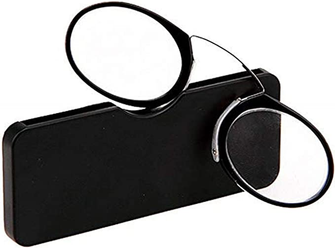 Reading Glasses Mini Unisex Pince Nez Style Nose Resting Pinching Reading Glasses with Lens Strength Variations Up to 3.5x