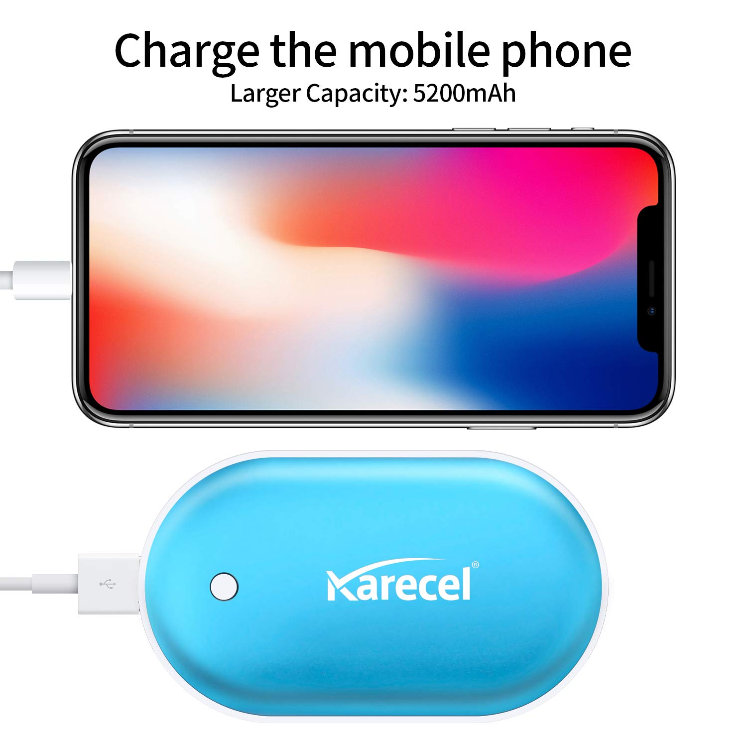 KARECEL Rechargeable Hand Warmers Best Gifts for Men and Women in Cold Winter Electric Hand Warmer 5200mAh Powerbank Reusable Handwarmers Portable USB Hand Warmer Heater Battery Pocket Warmer
