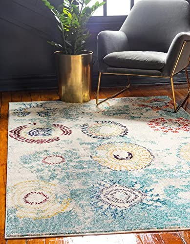 Unique Loom Estrella Collection Colorful Abstract Beige Area Rug 9 0 x 12 0