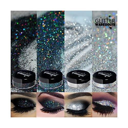 Platinum Loose Diamonds - 4pc GlitterWarehouse Holographic Loose Glitter Eye Shadow Powder Platinum Diamond Silver, Diamond Black Smoky (20g Jars)