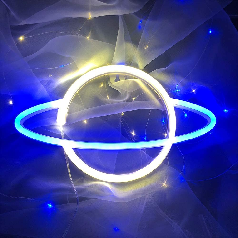 ENUOLI Planet Neon Signs Blue/Warm White Led Lights Hanging Wall Decor,Space Element Neon Lamp,USB or Battery Operated Night Art Sign Light for Home Bar Christmas Xmas Wedding Party (Blue Warm White)