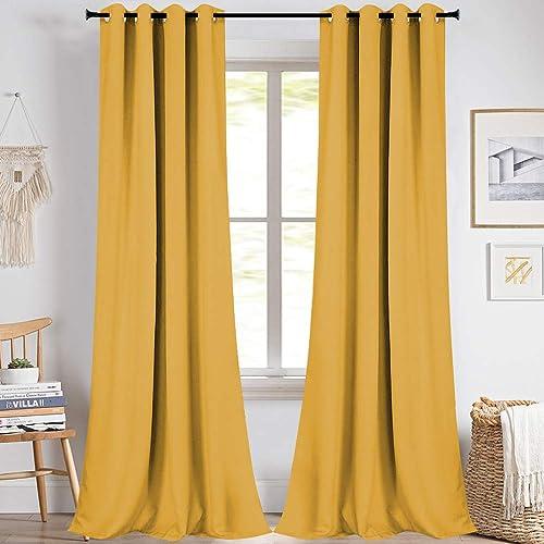 KEQIAOSUOCAI Yellow 108 Inch Curtains Blackout 2 Panel