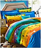 YOYOMALL Home Textile Colorful Stripe Kids Cartoon Cat Duvet Cover Sets 4Pcs,Cute Cat Bed Sheets for Teens Queen Size.