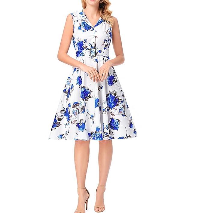 SDCXV Moda de mujer Vestido sin mangas, Vestido con estampado de rosas, Falda con una línea, Vestido sin mangas, Vestido estampado Ropa para niñas: ...