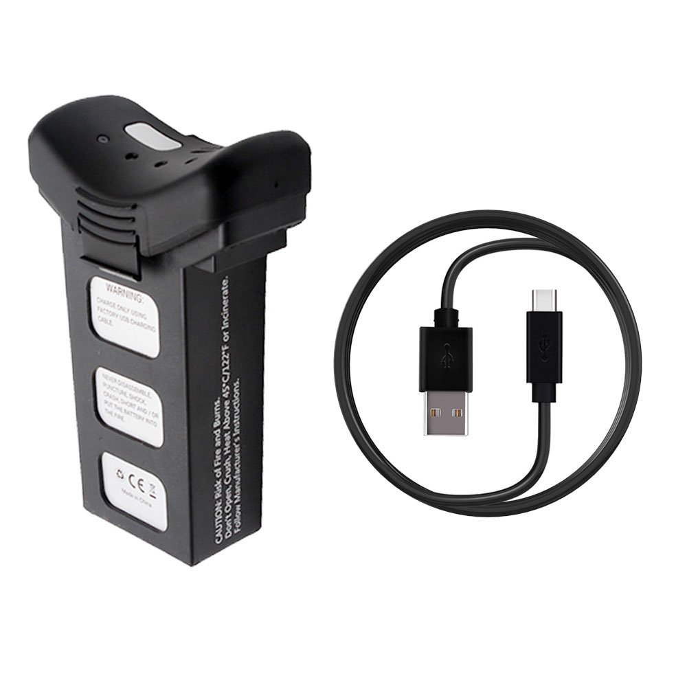 Teeggi Modular 7.4V 2500mAh Li-ion Battery and USB Charging Cable Suitable for HS100, T35 and S70W RC Quadcopter Drone, Black