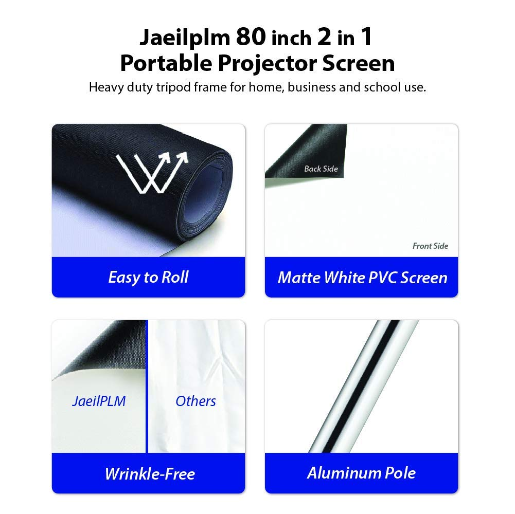 JaeilPLM 80-Inch 2-in-1 Portable Projector Screen Outdoor & Indoor Compatible Instant Wrinkle-Free with Triangle Stand or Hanging Design Movie Projection for Home Theater, Gaming, Office by JaeilPLM (Image #8)