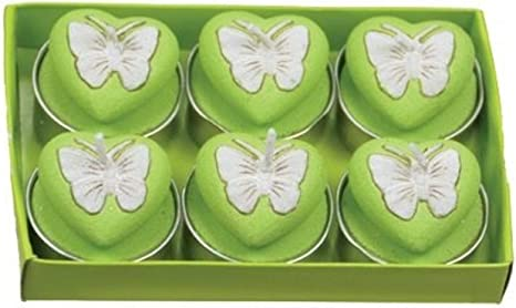 Amazon Com Fantastic Craft Boxed Green Butterfly Heart 6 Pack Tea Light Candles Home Kitchen
