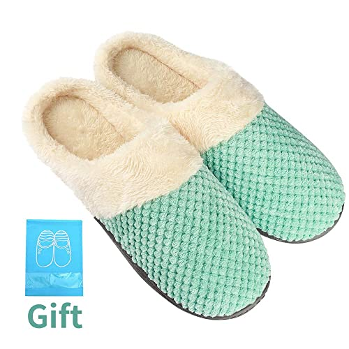 580cd96a2de Women s Comfort Coral Fleece Memory Foam Slippers Fuzzy Plush Lining Slip-on  Clog House Shoes for Indoor Outdoor Use Best Gift for Women Girls Birthday  ...