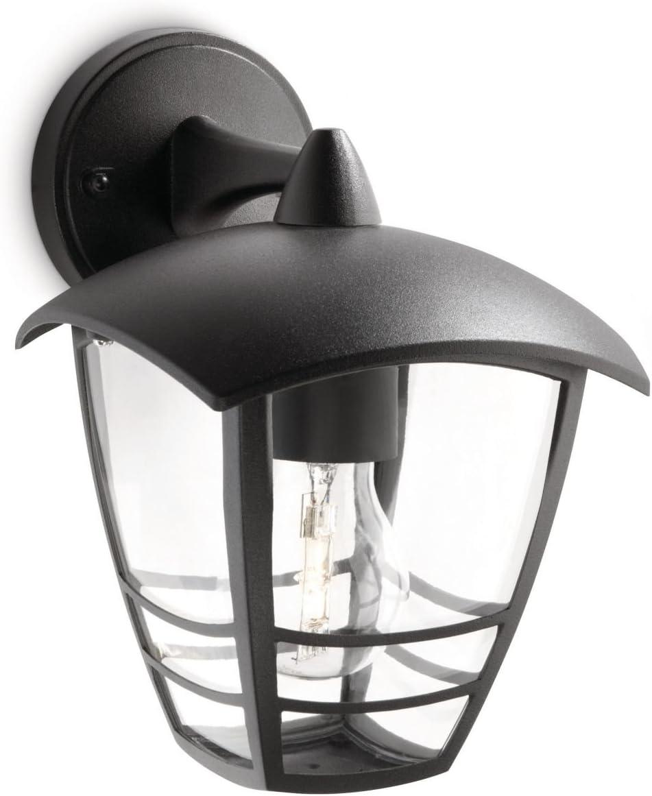 Philips Lighting myGarden Creek Aplique de exterior, con brazo, casquillo gordo E27, bombilla no incluida, resistente a la intemperie, IP44, negro, 24 cm