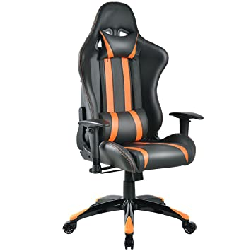Giantex Racing High Back Reclining Gaming Chair Ergonomic Computer Desk  Office Chair (Orange+Black